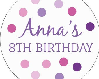 Polka Dot Birthday Stickers, Personalised Party Stickers, 8th Birthday, Polka dot Birthday, Purple Birthday, Free Shipping