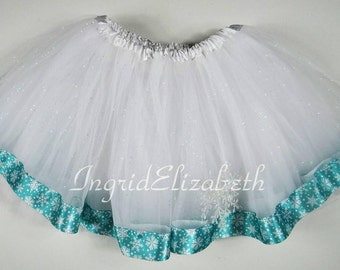 White tutu with Snowflake Ribbon / FAST SHIPPING / Child Costume, Birthday Tutus, teen Adult Costume