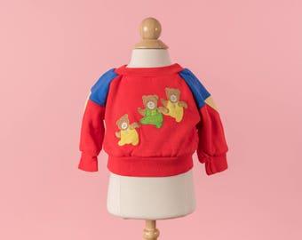 Vintage Bold Red Teddy Bear Appliqued Sweatshirt (Size New Born)