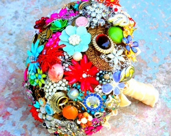 Brooch Bouquet, Vintage Broach Wedding Bouquet, Enamel Flowers Bouquet, Jewelry Bouquet, Deposit only