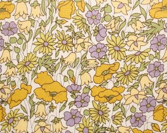 SALE - Liberty tana lawn printed in Japan -  Poppy and  Daisy  - Camel purple
