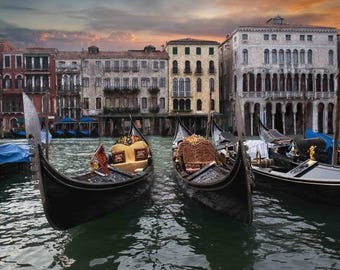 Venice Italy at Sunset Gondola Photography, Boats, Ornate, Colorful, On the Water: Gondolas at Rest