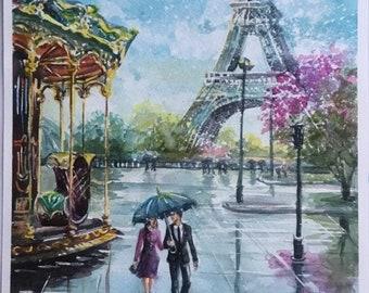 Paris painting original watercolor painting landscape watercolor Parisian street painting Rainy day painting Eiffel Tower Painting Paris art