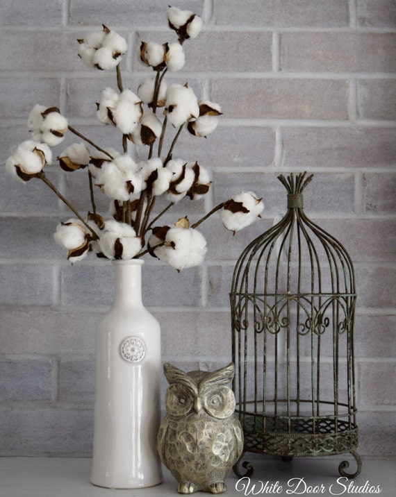 White Vase Cotton Stem Arrangement