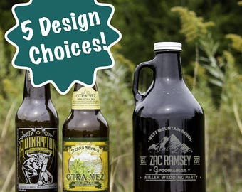 Personalized Etched Groomsmen 32oz Amber Glass Beer Growler