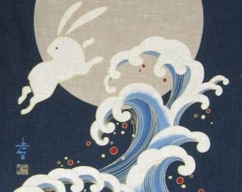 Noren Panel Rabbits Moon Ocean Japanese Fabric Panel Quilt Panel KP-7290-51