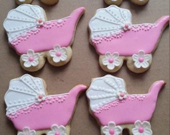 Baby Shower Baby Carriage Cookies - Girl  -  1 Dozen (12 cookies)