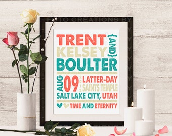 Professional Print - Personalized Typography wedding gift print with names, date, and location - 8x10 - subway art