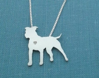 Pitbull Dog Necklace, Sterling Silver Personalize Pit Bull Pendant, Breed Silhouette Charm, Resue Shelter, Mothers Day Gift