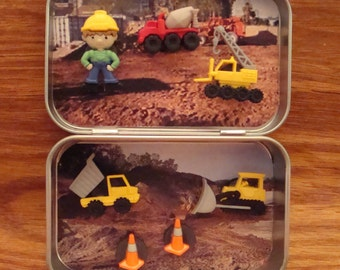 Altoids tin,  Pocket Toy, Pocket Construction Site Toy