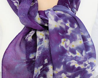 silk scarf long hand painted chiffon Purple Wisteria unique wearable art women white lavender yellow spring floral gift