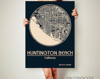 HUNTINGTON BEACH California Canvas Map Huntington Beach California Poster City Map Huntington Beach California Art Print Huntington Beach