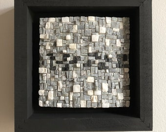Wall hanging curved square mosaic in black wood frame