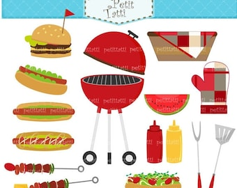 ON SALE BBQ clip art - summer Bbq Party Digital clip art, Backyard barbecue party clip art, hotdog clip art, burger clipart