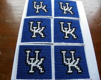 Set of 6 Plastic Canvas Kentucky Wild Cats Coasters   #213