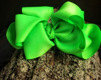 Neon Green 4 Inch Double Stacked Bow