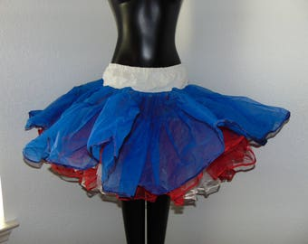 Vintage 1960s Red, White, and Blue Crinoline Petticoat by Malco Modes in size Petite