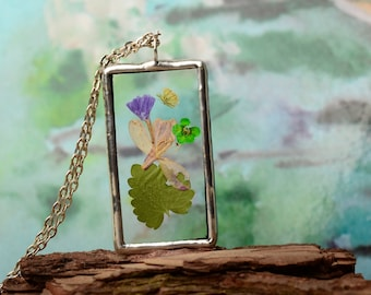 Nature jewelry, glass pendant, rectangle glass necklace, tin and glass jewelry, pressed flower necklace, boho gift, terrarium pendant