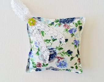 Free Delivery Organic Lavender Sachet Bag   Fragrance   Vintage   Blue Floral Print   Ready to Ship   Handmade