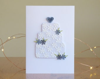 Wedding Cake Card // Handmade Greetings Card // Engagement// Love // Handcut // Papercut // Papercraft