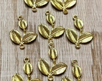 Leaf connectors, Gold metal Leaf connectors, Leaf charms, Necklace charms, Package of 8