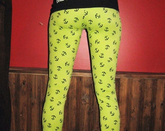 Green Anchors Legging Pants Small Medium By Vicmes Clothing