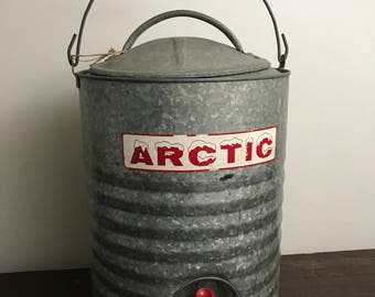 Vintage Camp Cooler Galvanized Insulated Cooler by Arctic 3Gallon Lined Galvanized Camp Cooler