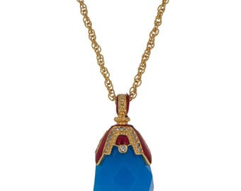 Blue Raindrop Crystal Royal Egg Pendant Necklace 22""