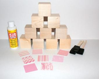 DIY Baby Shower Activity - Pink Nursery - Chevron - Baby Shower Decor - Wooden Baby Blocks - 2 Inch Wooden Blocks