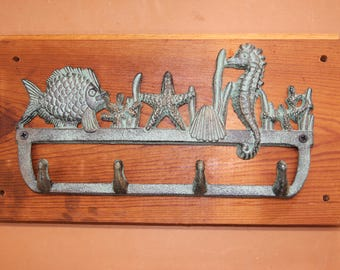 Nautical Bath Towel Hook Rack Ocean Bronze-look Design, Handmade in USA,  Reclaimed 100 Year Old Wood, The Country Hookers, CH-8