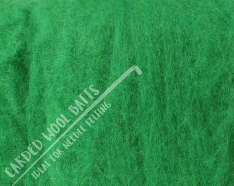 Leaf Green Carded Wool Batts For Needle Felting | 100% Sheep Wool | Needle Felting Wool | Available in Various Colours