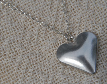 Handmade Sterling Silver Heart Pendant London Hallmarked