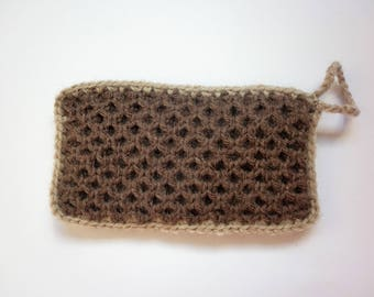 Tawashi / washable sponge - honeycomb - brown - beige strap