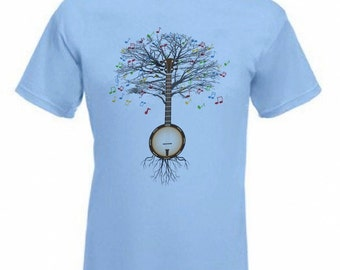 Banjo T-shirt country, folk, Irish traditional Musical Banjo Tree in all sizes