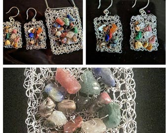 set wire crochet jewelry pendant and earrings