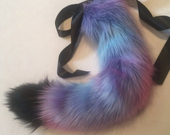 Luxury Black and Galaxy Pastel Cat Kitten Play BDSM Tail Faux Fur 25 Inch