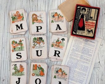 Mother Hubbard Mystery Game. 1920s vintage card game. 48 cards, instructions and part of the original box.