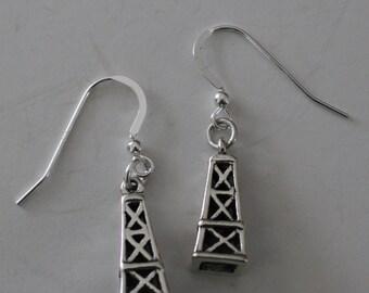 Sterling Silver OIL DERRICK Earrings  - 3D