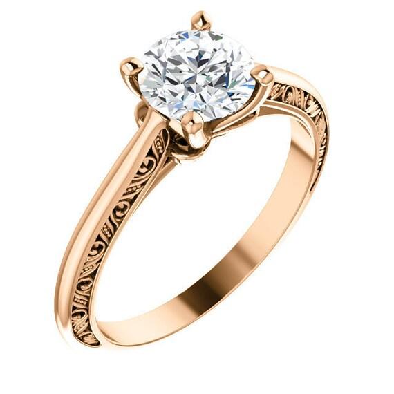 14K White Rose Yellow Gold Solitaire Diamond Engagement Ring Setting Semi-Mount