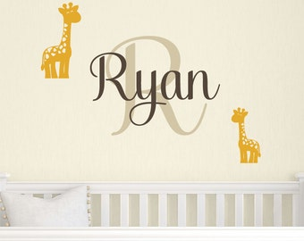 Giraffe Name Wall Decal, Safari Vinyl Decals, Baby Boy Nursery, Giraffe Wall Decals, Personalized Name Decal