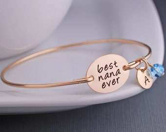 Gold Personalized Nana Bracelet, Nana Jewelry Gift, Personalized Jewelry, Nana Bangle Bracelet, Mother's Day Gift for Nana