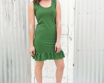 Organic Sleeveless Green Shift Dress with Ruffle - Made to Order in 25 Colors - Sustainable, Ethical Clothing by Yana Dee