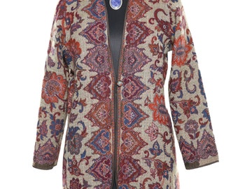 Women's Jacket with Indian Design, Grey and Brown and orange, Long Wool Jacket, Autumn/Spring coat