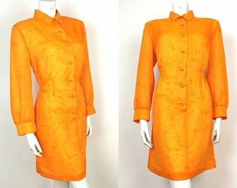 True Vintage 60s Orange Gold Chiffon Shirt Dress 16 - 18