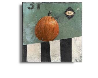 Halloween Pumpkin Painting on Wood Panel, Original Halloween Art, Original Pumpkin Art, Pumpkin Picture, Halloween Party Decor