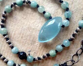 Sweet Aquamarine Drop Pendant Necklace