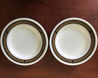 Two Vintage Pyrex Tableware Plates Ebony / Fleur-de-Lis