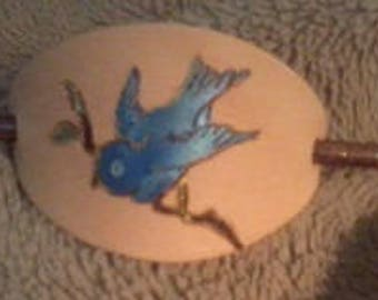Hand Painted Blue Bird Leather Hair Barrette/Shawl Pin