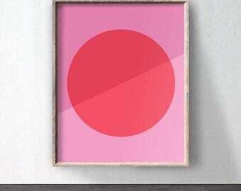 Pink Poster download, Circle Art, Downloadable print, Pink printable, Pink wall decor, Abstract poster, Pink wall art, Minimalist, Digital