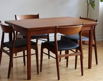 Scandinavian Mid Century Danish Modern Teak Dining Set